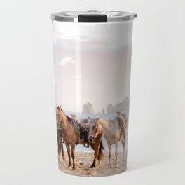Horses and a horseman Travel Mug