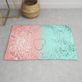 Summer Vibes Glitter Heart #1 #coral #mint #shiny #decor #art #society6 Rug