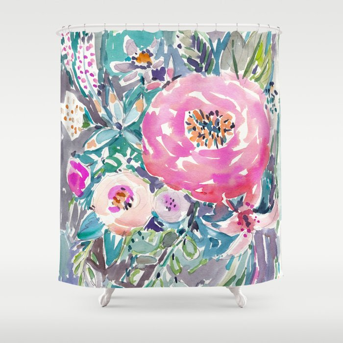 Wild Peony Floral Shower Curtain By Barbraignatiev