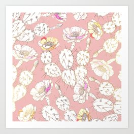 Modern white gold blush pink catus floral Art Print