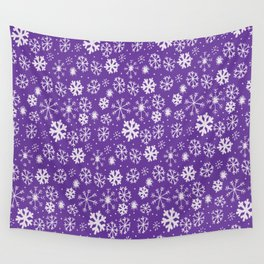 Snowflake Snowstorm With Purple Background Wall Tapestry