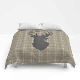 Country Farmhouse Rustic Decor, Plaid and Stag, Beige, Brown Comforters