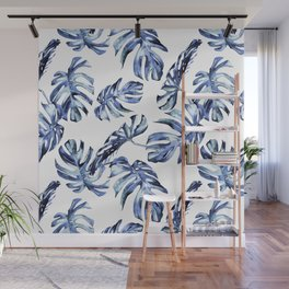 Blue Palm Leaves Wall Mural