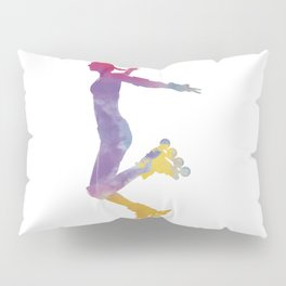Woman in roller skates 03 in watercolor Pillow Sham