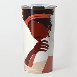 Black Woman Illustration Art, Portrait Print, Black Girl Wall Art, African American Woman Art Travel Mug