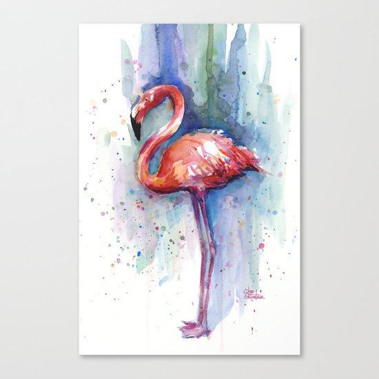 Pink Flamingo Watercolor Tropical Animals Birds Canvas Print
