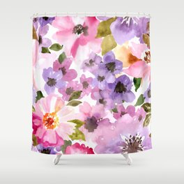 Pink Purple Watercolor Flowers Shower Curtain