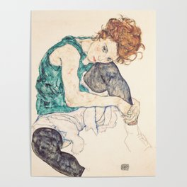 Sitting Woman With Legs Drawn Up Poster