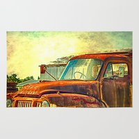 truck Area & Throw Rugs featuring Old Rusty Bedford Truck by Wendy Townrow
