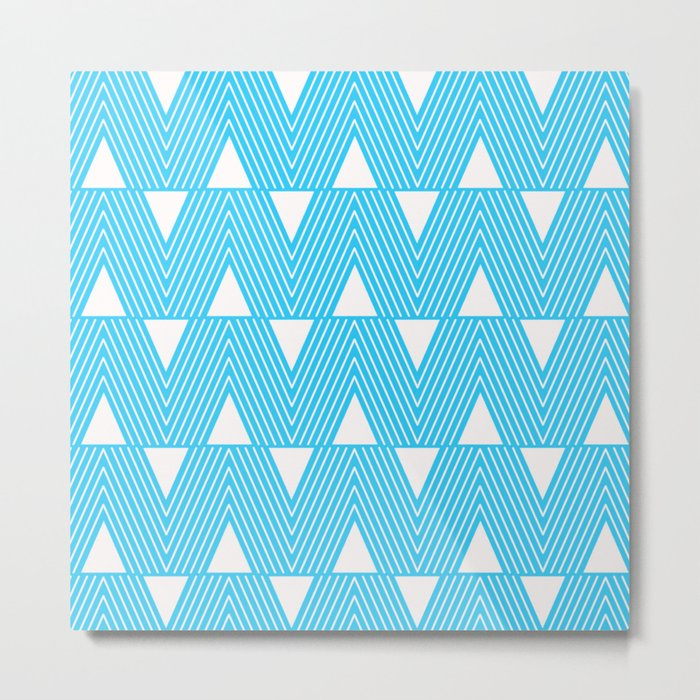 Triangles- Teal Triangle Pattern for hot summer days-Mix & Match Metal Print