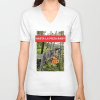 trex V-neck T-shirts featuring PIZZA TREX!! by anthonykun