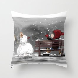 Child and Snowman Throw Pillow
