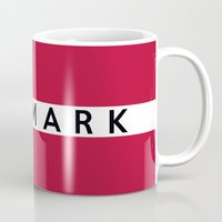 denmark Mugs featuring Denmark country flag name text by tony tudor
