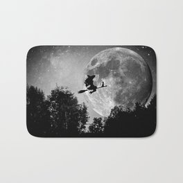 Flying witch | Moon witch | Witch cat | Witch broom | Halloween Bath Mat