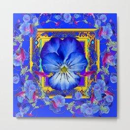 DECORATIVE BLUE PANSY & VINING  MORNING GLORIES Metal Print