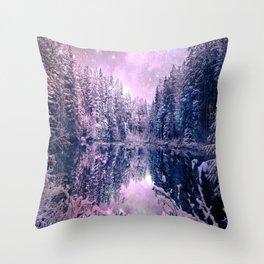 Pink Lavender Winter Wonderland : A Cold Winter's Night Throw Pillow