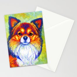 Colorful Long Haired Chihuahua Dog Stationery Cards