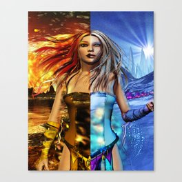 Fire and Ice Fantasy Art Canvas Print