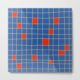 Abstract Red Squares Retro Grid Metal Print