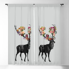 Spring Itself Deer Floral Blackout Curtain
