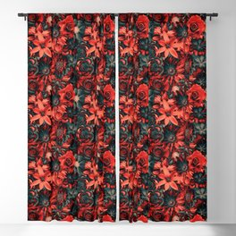 Darling Flowery - Red Passion Flowery Pattern Blackout Curtain