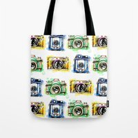 cameras Tote Bags featuring Vintage Cameras by Abby Diamond