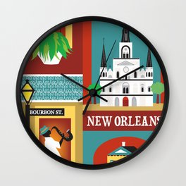 New Orleans, Louisiana - Collage Illustration by Loose Petals Wall Clock