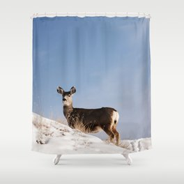 Deer Prancing Among  Snow Covered Hills Colored Wall Art Print Shower Curtain
