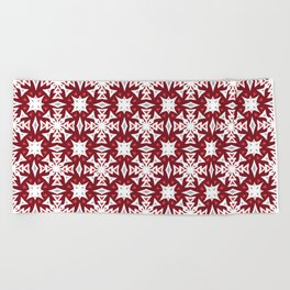 Snowflakes on Red Beach Towel