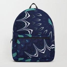 Navy Blue Teal Mandala Design Backpack