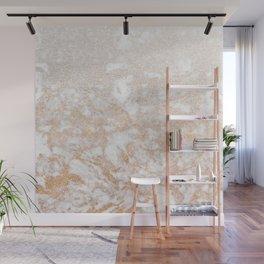 Elegant white faux glitter stylish marble pattern Wall Mural