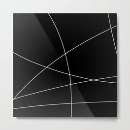 Black and White Minimalist Lines Metal Print