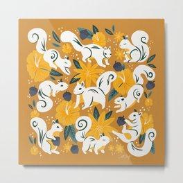 Squirrels & Blooms – Ochre Metal Print