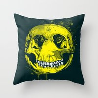 be happy Throw Pillows featuring happy by Steven Toang