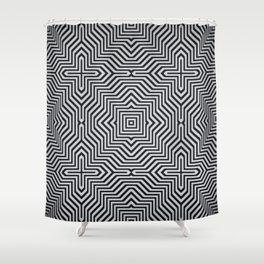 Minimal Geometrical Optical Illusion Style Pattern in Black & White Shower Curtain