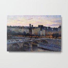 Paris City Lights & Twilight Skyline along the River Seine landscape painting by Maximilien Luce Metal Print
