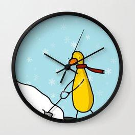 Snow Shoveling | Veronica Nagorny Wall Clock