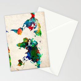 World map watercolor grunge Stationery Cards