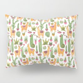watercolor alpaca clique with cacti and succulents Pillow Sham