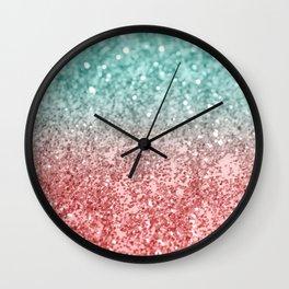 Summer Vibes Glitter #2 #coral #mint #shiny #decor #society6 Wall Clock