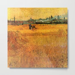 Arles View from the Wheat Fields_Vincent van Gogh  Dutch post-impressionist painter (1853–1890) Metal Print