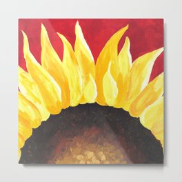 Sunflower on Red #3 Metal Print