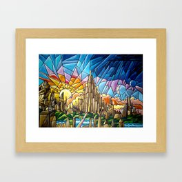 Asgard stained glass style Framed Art Print