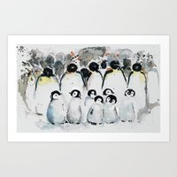 penguins Art Prints featuring penguins by Katja Main