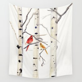 Birch Trees and Cardinal Wall Tapestry