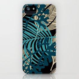 Algues et Grandes feuilles sur fond noir iPhone Case