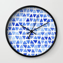 Triangle Watercolor Seamless repeating Pattern - Blue Wall Clock