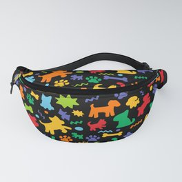 Colorful Dogs Pattern on Black Background Fanny Pack