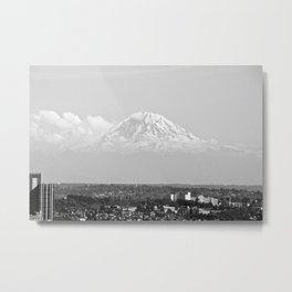 Hovering Mt Rainier in Mono Metal Print