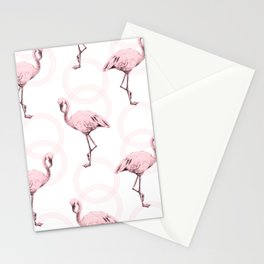 Mod Flamingos on Flamingo Pink Infinity Link Stationery Cards